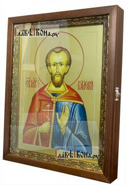 Валерий Мелитинский мученик, икона печатная на доске (размер 30х40 см, вариант оформления в киот), вид сбоку