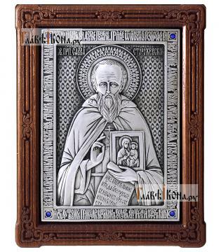 Савва Сторожевский преподобный, икона из серебра в деревянной рамке, артикул 11211