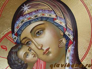 Владимирская Божия Матерь, икона писаная с чеканкой и золочением, артикул 209 - лик Образа