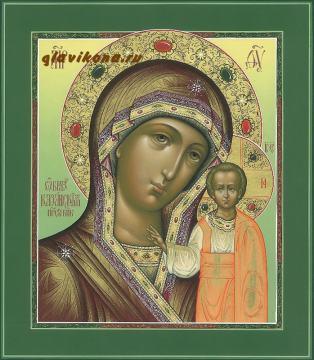 Казанская икона Божией Матери, написанная в палехскойм стиле с золочением и узорами