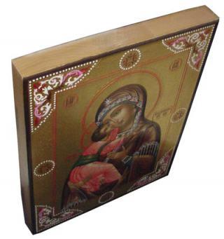 Владимирская Божия Матерь, икона писаная с чеканкой и золочением, артикул 209 - вид сверху